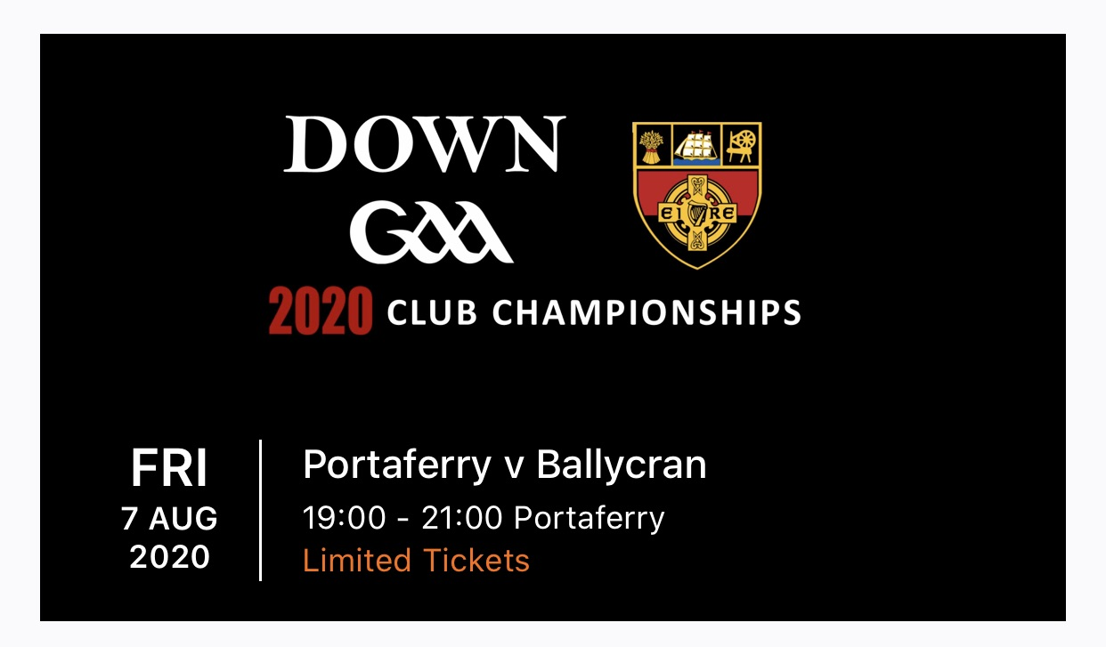 Update – Ticket App for Down GAA SHC games admission is now available for downloading